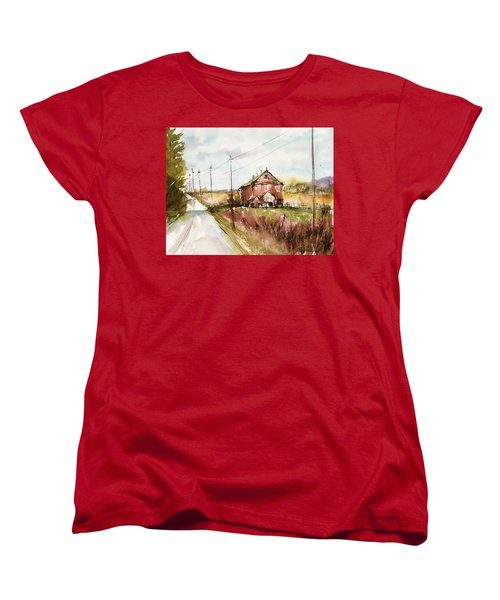 Barns And Electric Poles, Sunday Drive Women's T-Shirt (Standard Cut) by Judith Levins