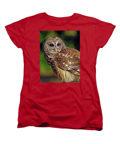 Women's T-Shirt (Standard Cut) featuring the photograph Barred Owl by Larry Nieland
