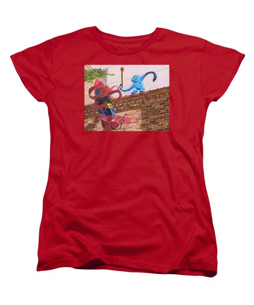 Women's T-Shirt (Standard Cut) featuring the painting Barrel Of Fun by Lynne Reichhart