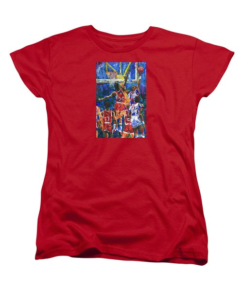 Women's T-Shirt (Standard Cut) featuring the painting Basketball 1970s by Walter Fahmy