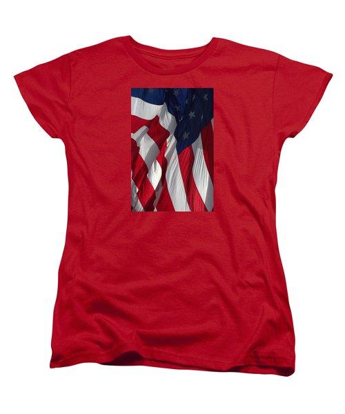 Battle Flag Flies Aboard Uss Cape St. George Women's T-Shirt (Standard Cut)