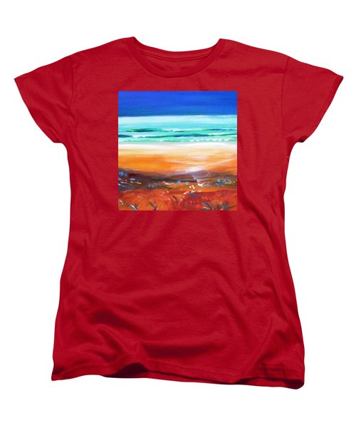 Women's T-Shirt (Standard Cut) featuring the painting Beach Joy by Winsome Gunning