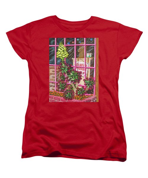 Women's T-Shirt (Standard Cut) featuring the painting Beach Side Storefront Window by Katherine Young-Beck
