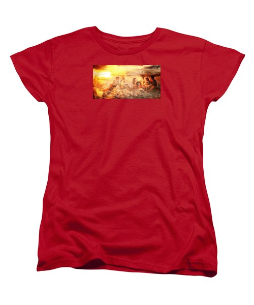 Women's T-Shirt (Standard Cut) featuring the digital art Beach Sunset With Friends by Andrea Barbieri