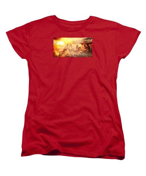 Beach Sunset With Friends Women's T-Shirt (Standard Cut) by Andrea Barbieri