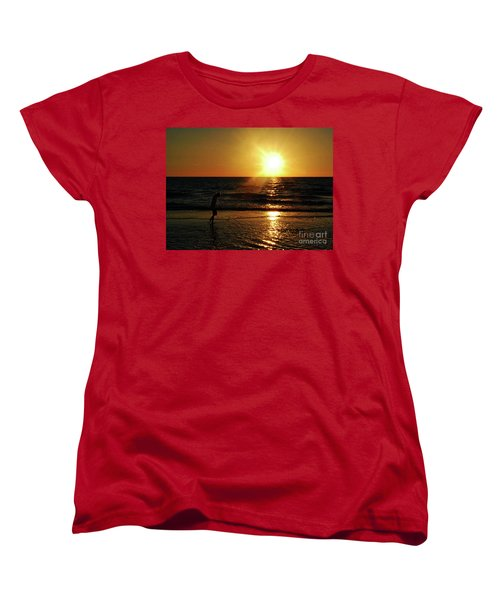 Women's T-Shirt (Standard Cut) featuring the photograph Beach Walking by Gary Wonning