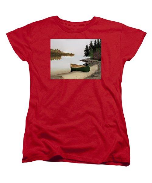 Beached Canoe In Muskoka Women's T-Shirt (Standard Cut) by Kenneth M  Kirsch