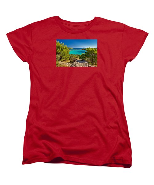 Beautiful Emerald Beach On Murter Island Women's T-Shirt (Standard Cut) by Brch Photography