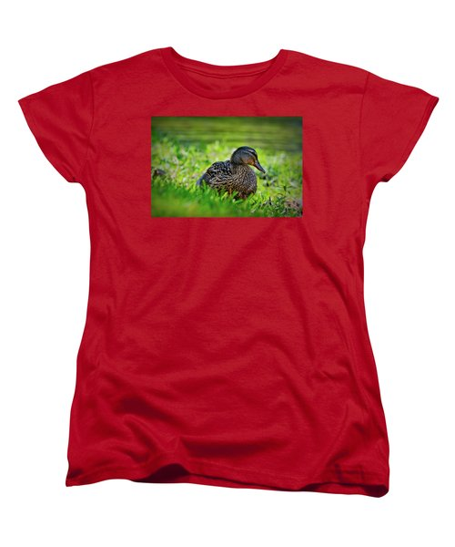 Women's T-Shirt (Standard Cut) featuring the photograph Beautiful Mama Duck by Linda Unger