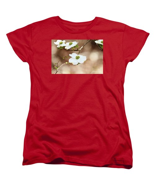 Beautiful White Flowering Dogwood Blossoms Women's T-Shirt (Standard Cut) by Stephanie Frey