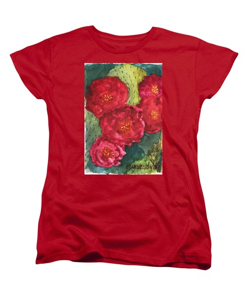 Women's T-Shirt (Standard Cut) featuring the painting Beavertail Cactus by Eric Samuelson
