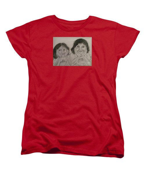 Women's T-Shirt (Standard Cut) featuring the painting Bedtime Stories by Brindha Naveen