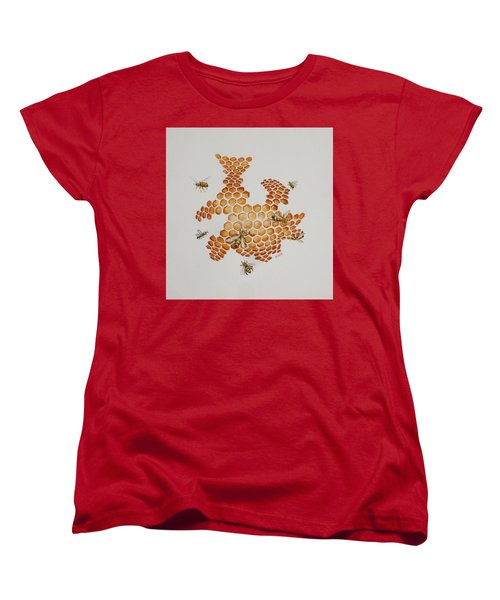 Women's T-Shirt (Standard Cut) featuring the painting Bee Hive # 1 by Katherine Young-Beck