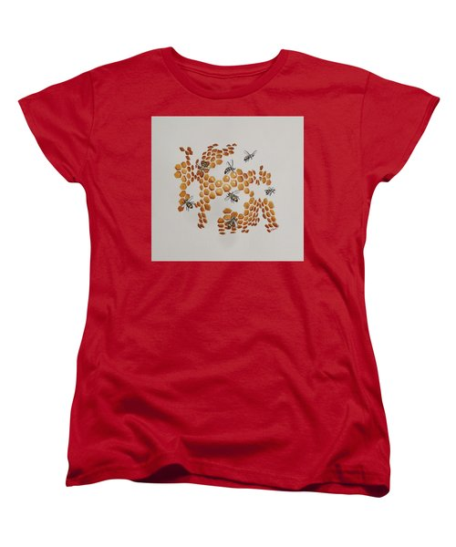 Women's T-Shirt (Standard Cut) featuring the painting Bee Hive # 2 by Katherine Young-Beck