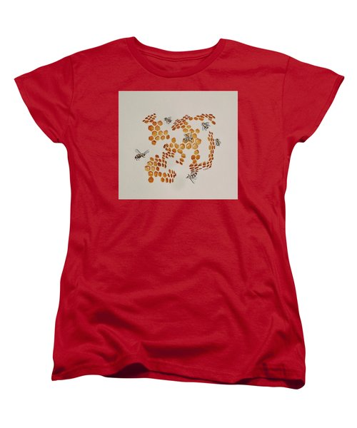 Women's T-Shirt (Standard Cut) featuring the painting Bee Hive # 3 by Katherine Young-Beck