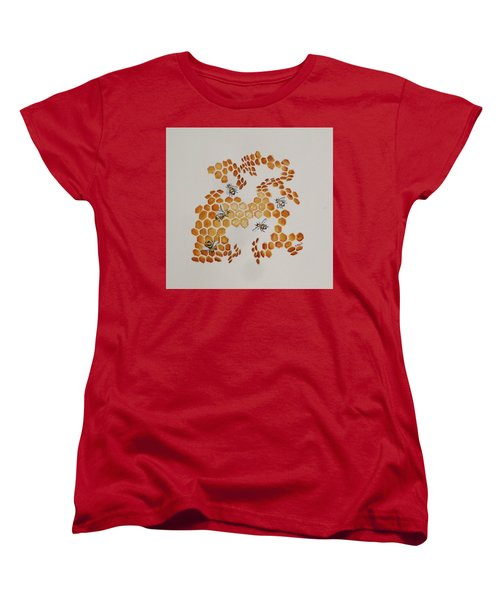 Women's T-Shirt (Standard Cut) featuring the painting Bee Hive # 5 by Katherine Young-Beck