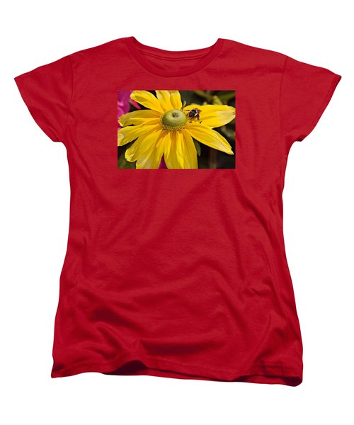 Women's T-Shirt (Standard Cut) featuring the photograph Bee On Yellow Cosmo by Peter J Sucy