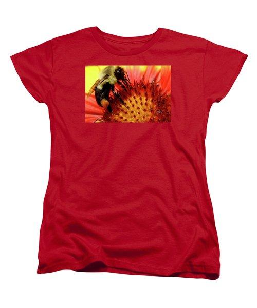Women's T-Shirt (Standard Cut) featuring the photograph Bee Red Flower by Meta Gatschenberger