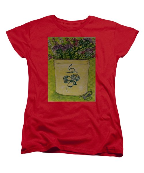 Bee Sting Crock With Good Luck Bow Heather And Thistles Women's T-Shirt (Standard Cut) by Kathy Marrs Chandler