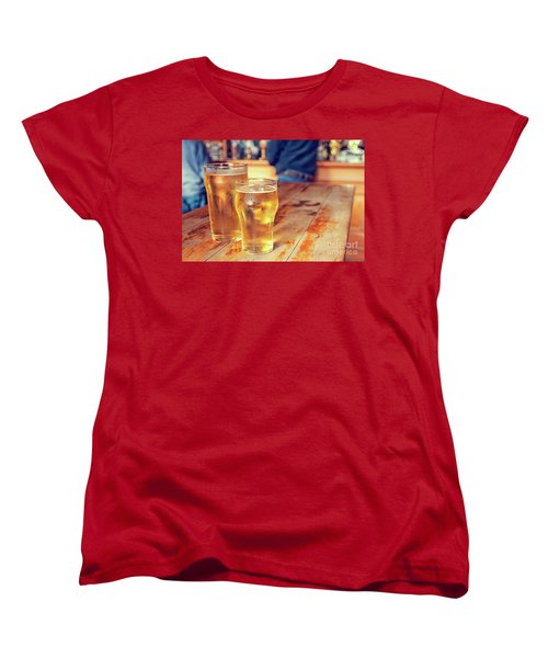 Women's T-Shirt (Standard Cut) featuring the photograph Beers In A Pub by Patricia Hofmeester