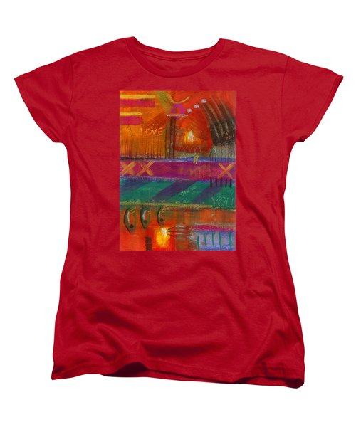 Women's T-Shirt (Standard Cut) featuring the painting Being In Love by Angela L Walker