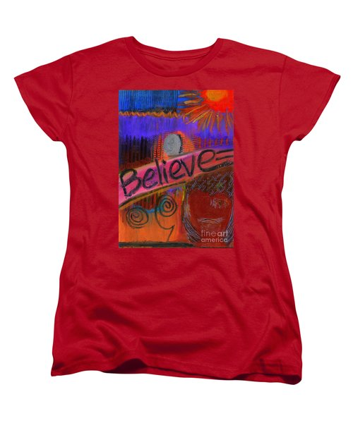 Women's T-Shirt (Standard Cut) featuring the painting Believe Conceive Achieve by Angela L Walker