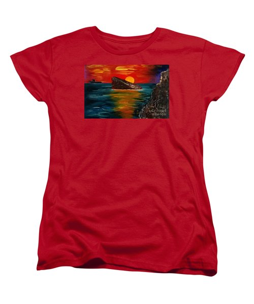 Women's T-Shirt (Standard Cut) featuring the painting Benidorm by Jeepee Aero