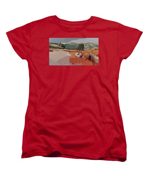 Bergen Peak First Snow Women's T-Shirt (Standard Cut) by Dan Miller
