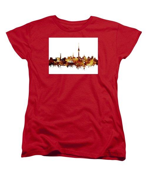 Berlin City Skyline Brown Women's T-Shirt (Standard Cut) by Bekim Art