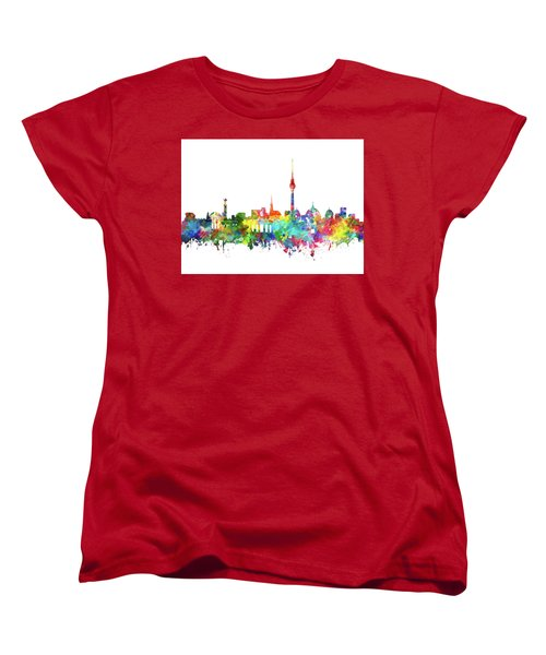 Berlin City Skyline Watercolor Women's T-Shirt (Standard Cut) by Bekim Art