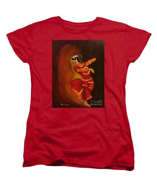 Women's T-Shirt (Standard Cut) featuring the painting Bharatnatyam Dancer by Brindha Naveen