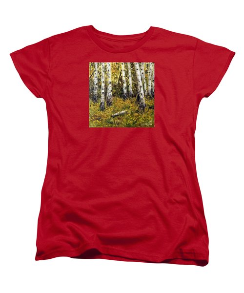 Women's T-Shirt (Standard Cut) featuring the painting Birches by Arturas Slapsys