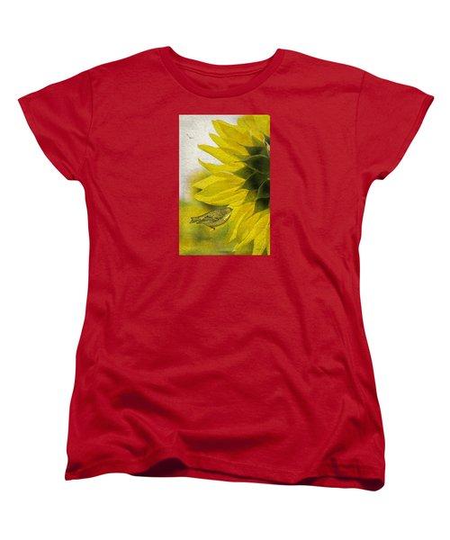 Women's T-Shirt (Standard Cut) featuring the photograph Bird On Sunflower by Betty Denise