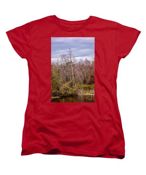 Women's T-Shirt (Standard Cut) featuring the photograph Bird Out On A Limb 3 by Madeline Ellis