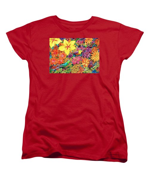 Birds In Paradise Women's T-Shirt (Standard Cut) by Charles Cater