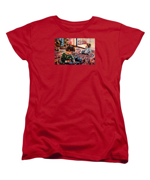 Women's T-Shirt (Standard Cut) featuring the painting Birthday Party Or A Childs View by Kendall Kessler