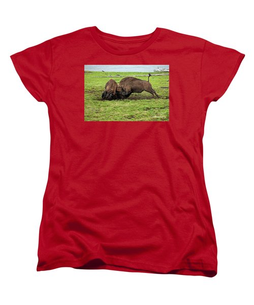 Bison Fighting Women's T-Shirt (Standard Cut) by Cindy Murphy - NightVisions