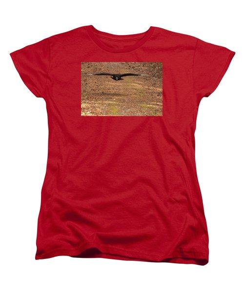 Women's T-Shirt (Standard Cut) featuring the digital art Black Vulture In Flight by Chris Flees