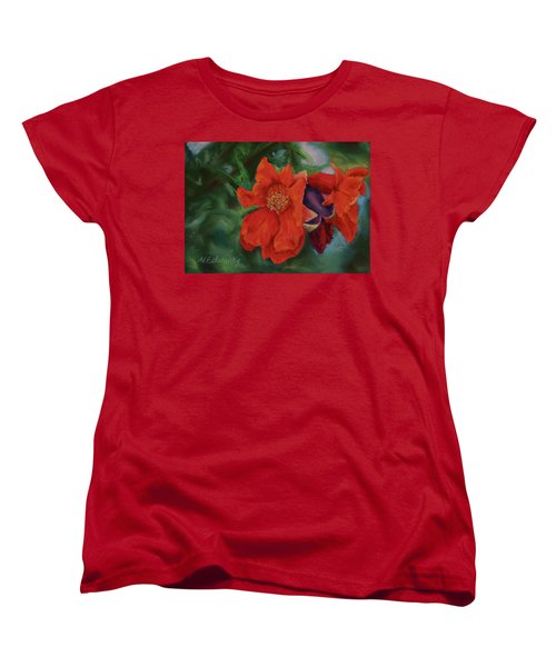 Blooming Poms Women's T-Shirt (Standard Cut) by Marna Edwards Flavell
