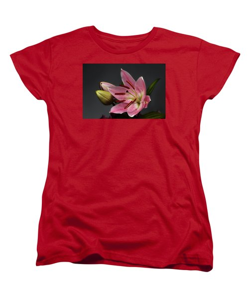Blossoming Pink Lily Flower On Dark Background Women's T-Shirt (Standard Cut) by Sergey Taran
