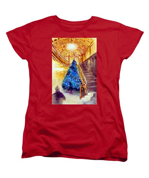 Blue And Gold 2 - Michigan Theater In Ann Arbor Women's T-Shirt (Standard Cut) by Yoshiko Mishina
