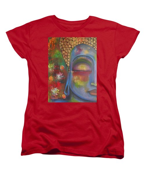 Women's T-Shirt (Standard Cut) featuring the painting Buddha In Blue Meditating  by Prerna Poojara