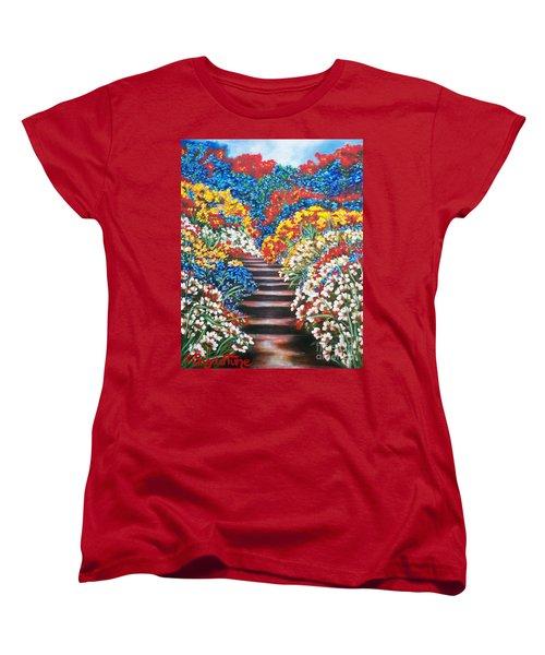 Women's T-Shirt (Standard Cut) featuring the painting Blue Garden Cascade by Sigrid Tune