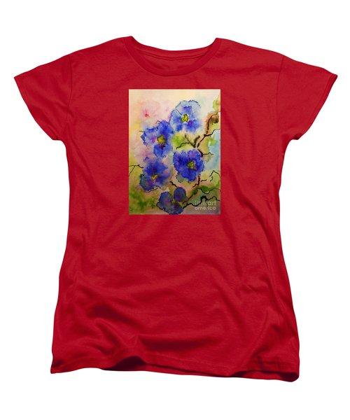 Blue Spring Flowers Watercolor Women's T-Shirt (Standard Cut) by AmaS Art