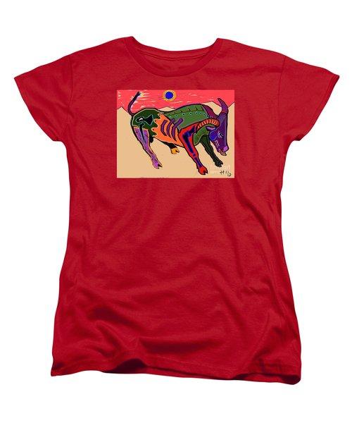 Blue Sun And Bull Women's T-Shirt (Standard Cut) by Hans Magden