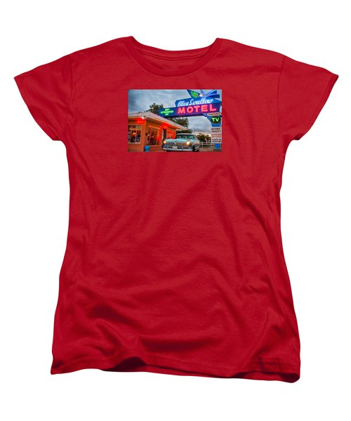 Blue Swallow Motel On Route 66 Women's T-Shirt (Standard Cut) by Steven Bateson
