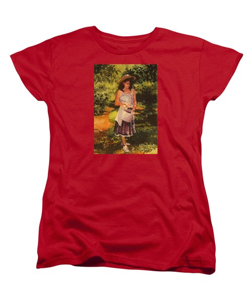 Blueberry Girl Women's T-Shirt (Standard Cut) by Elizabeth Carr