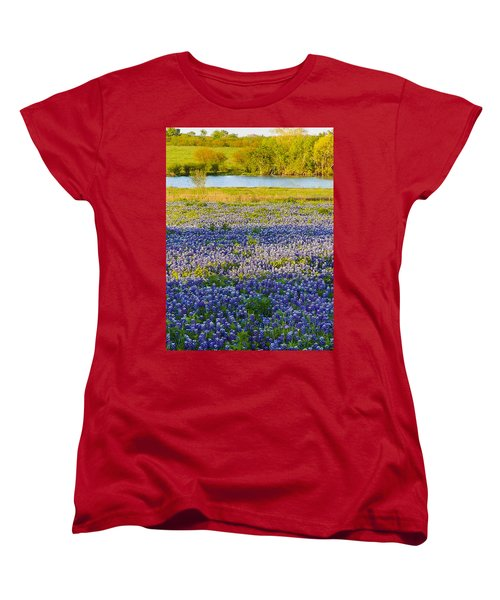 Bluebonnet Field Women's T-Shirt (Standard Cut) by Debbie Karnes