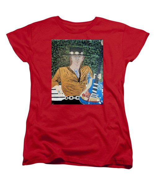 Women's T-Shirt (Standard Cut) featuring the painting Blues In The Park With Stevie Ray Vaughan. by Ken Zabel
