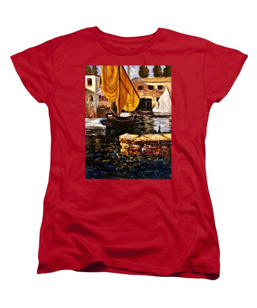 Boat With Golden Sail,san Vigilio  Women's T-Shirt (Standard Cut) by Cristina Mihailescu